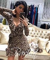 Женское короткое платье с леопардовым принтом и оборками