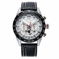 Часы наручные AMST AM3021-1 Black-White, кожаный ремешок (оригинал)