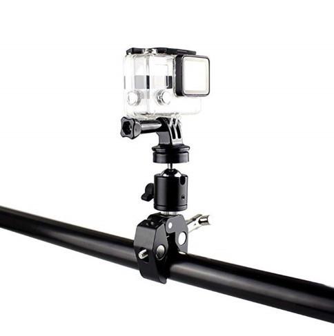 Металлическое крепление на руль или трубу для GoPro с диаметром трубы до  5,5 см.