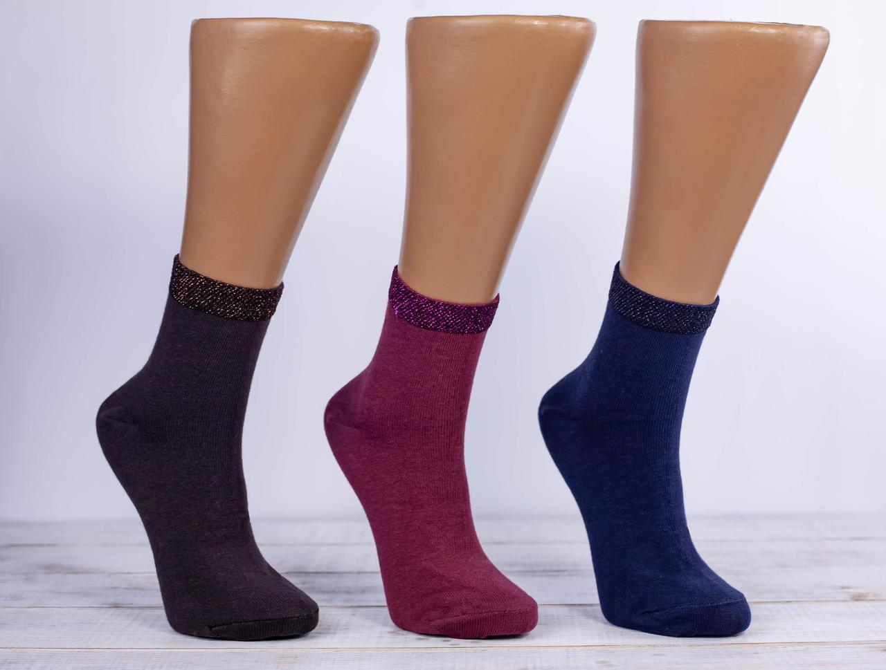 Жіночі носки з люрексом шкарпетки стрейчеві Montebello 35-40 12 шт в уп мікс із 5 кольорів