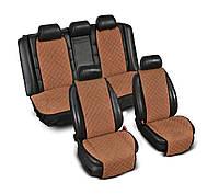 Накидка на сидения из алькантары коричневые (кофе), широкие, полный комплект