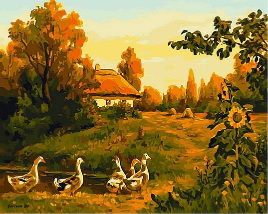 Набор-раскраска по номерам Вечерняя деревня Худ Колисной Геннадий, фото 2