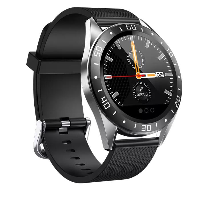 Смарт-часы Lige GT105 с функцией тонометра - Серебряный корпус, черный силиконовый ремешок