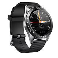Смарт-часы Lige GT105 с функцией тонометра - Серебряный корпус, черный силиконовый ремешок, фото 1