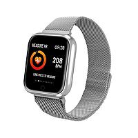 Смарт-часы P70  Smartwatch с тонометром + ремешок - Серебряный металлический + черный силиконовый, фото 1