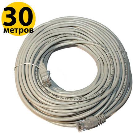 Патч-корд 30 м, UTP, Grey, Ritar, литой, RJ45, кат.5е, витая пара, сетевой кабель для интернета, фото 2