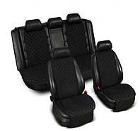 Накидка на сидения из алькантары черные, широкие, полный комплект