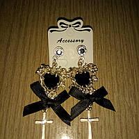 Сережки кресты с черным бантом