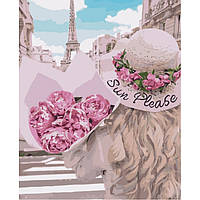 Картина по номерам.  Влюблённая в Париж 40х50см арт. КНО4551