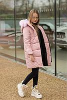 Зимняя куртка пальто плащевка Аляска+250 силикон+подкладка флис опушка мех размер:128,134,140,146,152,158