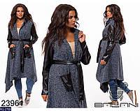 Модное кашемировое пальто букле с поясом на запах размеры 46-60 арт 7071