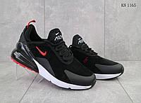 Мужские кроссовки в стиле Nike Air Max 270, замша, пена, черные с белым 43 (27,5 см)