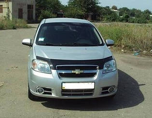 Мухобойка Chevrolet Aveo (седан) (2003-2006) (VT-52) Дефлектор капота накладка