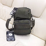 Тактическая городская мужская сумка оливковая, фото 5