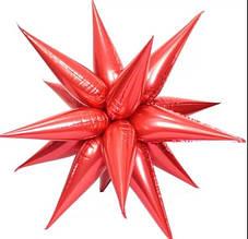 Фольгированный составной шар - большая звезда двенадцатиконечная, ежик - красный гигант 90 см.