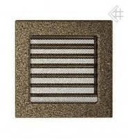 Вентиляционная решетка Kratki 17х17 см черно-золотая с жалюзи, фото 1