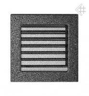 Вентиляционная решетка Kratki 17х17 см черно-серебрянная с жалюзи, фото 1