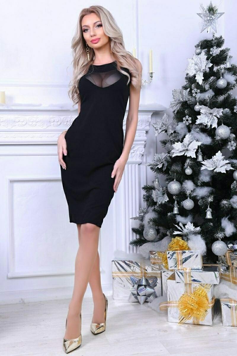 Платье облегающее женское короткое Черный