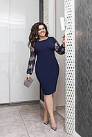 Красивое платье прямого кроя Темно-синий Большого размера