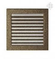 Вентиляционная решетка Kratki 22х22 см черно-золотая с жалюзи, фото 1