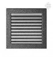 Вентиляционная решетка Kratki 22х22 см черно-серебрянная с жалюзи, фото 1