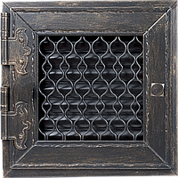 Вентиляционная решетка Kratki RETRO 22x22 черная графитовая с дверкой, фото 1