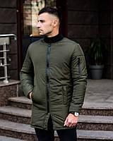Чоловіча зимова куртка, куртка колір олива з кишенями тепла, фото 1