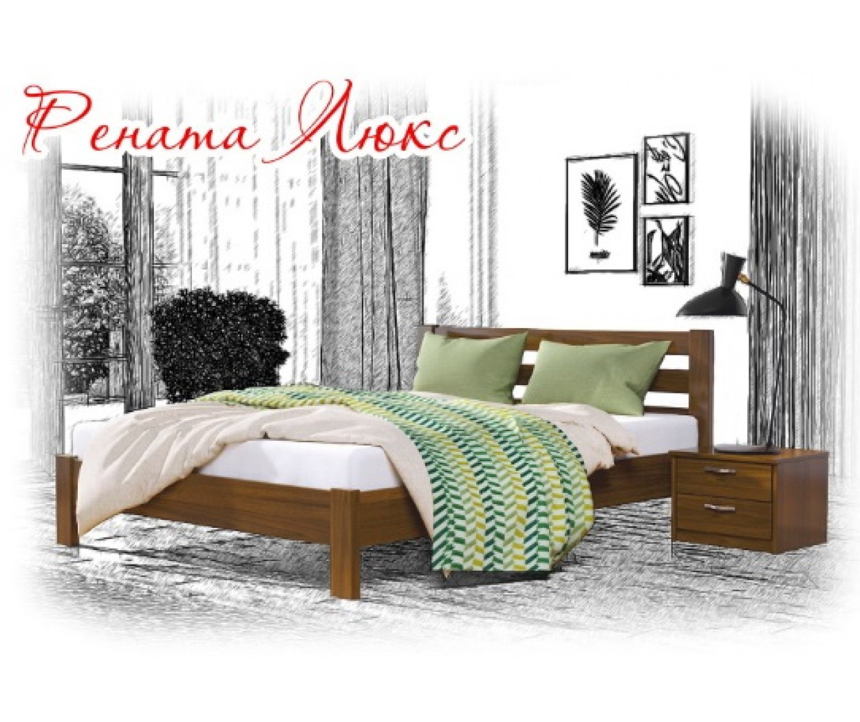 Деревянная кровать Рената Люкс Щит 80х190 см. Эстелла