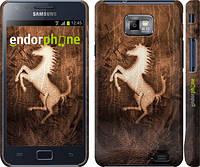 """Чохол на Samsung Galaxy S2 Plus i9105 Логотип Феррарі на шкірі """"133c-71"""""""
