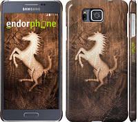 "Чехол на Samsung Galaxy Alpha G850F Логотип Феррари на коже ""133c-65"""