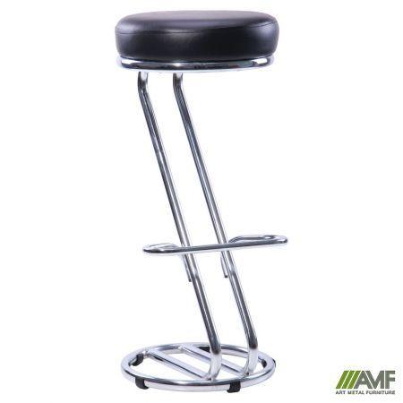 Барний стілець Зета Хокер хром чорний Кожзам AMF