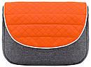 Коляска 2 в 1 Adamex Prince X-12 серый лен - оранжевая кожа (выдавленная строчка) - белый кант (серая рама), фото 6
