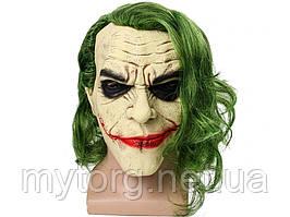 Маска Джокер с зелеными волосами латексная Джокер