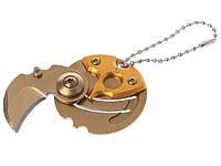 Нож-брелок в виде монеты складной  Золотой