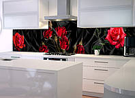 Наклейки кухонный фартук  Zatarga Роза Tassin  600х2500 мм красный 600х2500мм