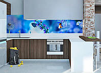 "Наклейки кухонный фартук Zatarga""Колокольчик полевой"" 600х2500 мм голубой 600х2500мм"