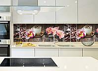 """Наклейки кухонный фартук Zatarga""""Орхидея и сладости""""  600х2500 мм  розовый"""
