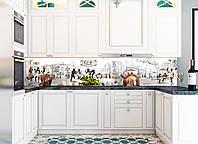 Наклейки кухонный фартук  Cafe Paris 600х2500 мм белый