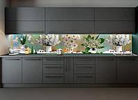 "Наклейки кухонный фартук  Zatarga""Цветы и Ягоды"" 600х2500мм белый 600х2500мм"