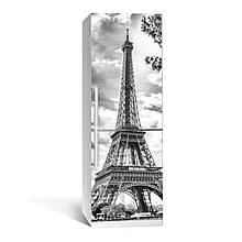 Наклейка на холодильник черно-белая Эйфелева башня (виниловая наклейка, самоклейка для холодильника, Франция)