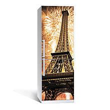 Наклейка на холодильник Эйфелева башня 02 (виниловая наклейка, самоклейка, оклеить холодильник, декор кухни)