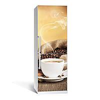 Наклейка на холодильник Кофе 02 ( (виниловая наклейка, самоклейка, оклеить холодильник, декор кухни)