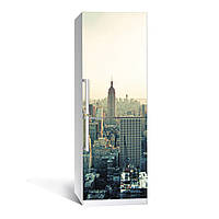 Наклейка на холодильник Город  (виниловая наклейка, самоклейка, оклеить холодильник, декор кухни)