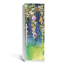 Наклейка на холодильник Цветение  (виниловая наклейка, самоклейка, оклеить холодильник, декор)