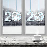 """Новогодняя виниловая наклейка """" Снежинки 2020 """" 800 х 500 мм  голубой , красный"""