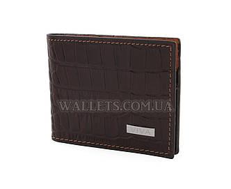 Мужской кожаный кошелек VIVA, тонкий, темно-коричневый крокодил