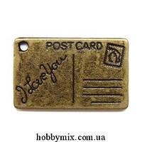 """Метал. подвеска """"открытка"""" бронза (2,5х1,5 см) 4 шт в уп."""