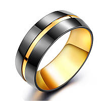 Мужское кольцо из стали с черным покрытием и золотой полосой, р.  17.5, 18