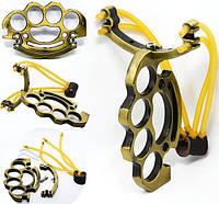 Металлическая рогатка спортивная в форме кастет рукоятка.