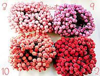 Сахарные ягодки коралловые 12 мм пучок 20 шт (40 ягодок)